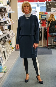 Blue tunic dress and black and white legging (4)_LR