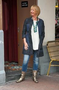 jeans dress worn as jacket