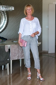 Linen grey trousers and white shirt