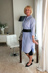 Long blue and white striped tunic with belt