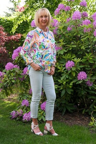 Ralph Lauren colourful shirt, baby blue skinnies by J Brand, sandals by What For