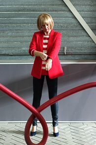Red jacket with red and white striped sweater