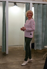 Red white striped shirt with green coated jeans Hugo Boss (1 van 1)