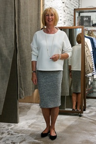 White sweater and grey pencil skirt