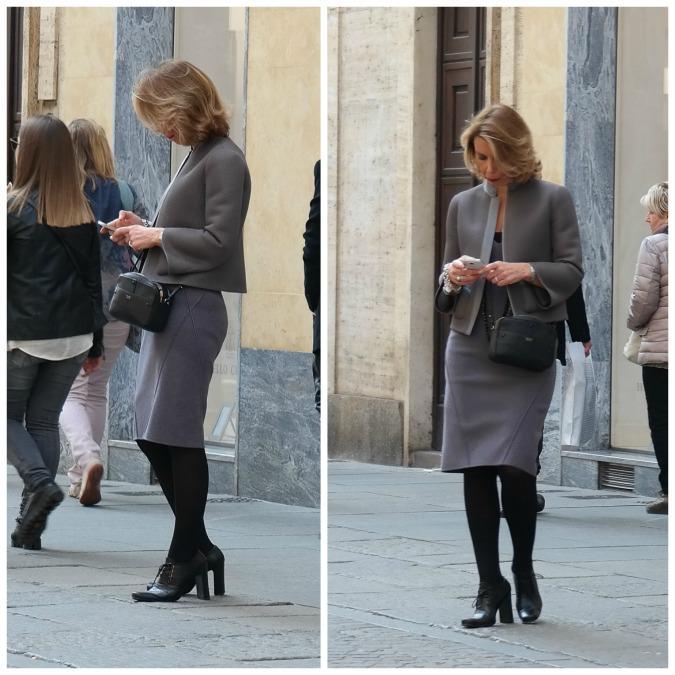 woman in grey