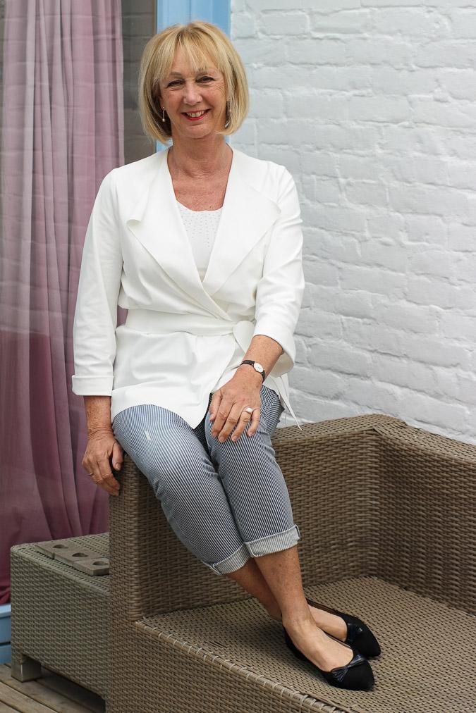 Irie Wash white jacket with striped capri (1 van 6)