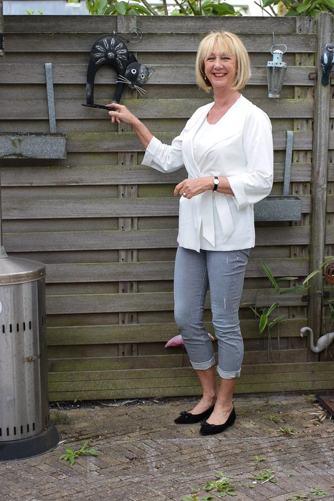 Irie Wash white jacket with striped capri (4 van 6)