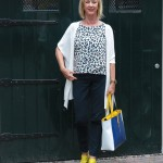 Cardigan by Max Mara with yellow shoes