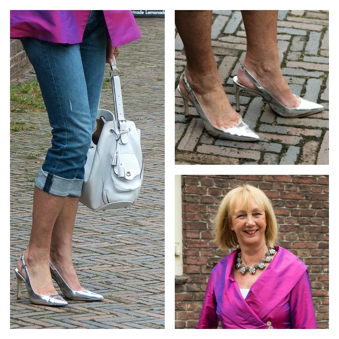 silver pumps and necklace white bag