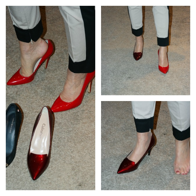 two pairs of red pumps