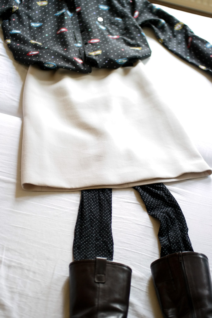 Cream A line skirt with eye blouse (1 van 11)