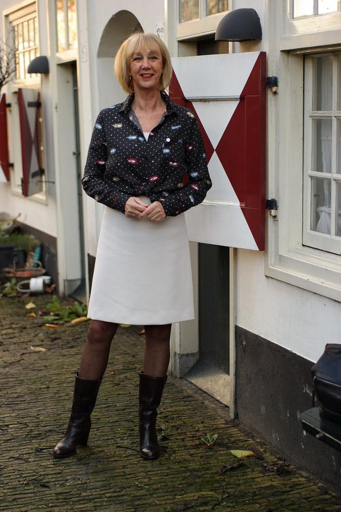 Cream A line skirt with eye blouse (7 van 11)