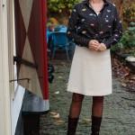 Cream A-line skirt with eye shirt