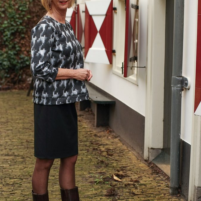 Max Mara sweater with black pencil skirt