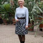 Max Mara flower skirt with a blue sweater