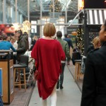 long red tunic sweater with white skinnies, little red bag and leopard pumps at Foodhalls