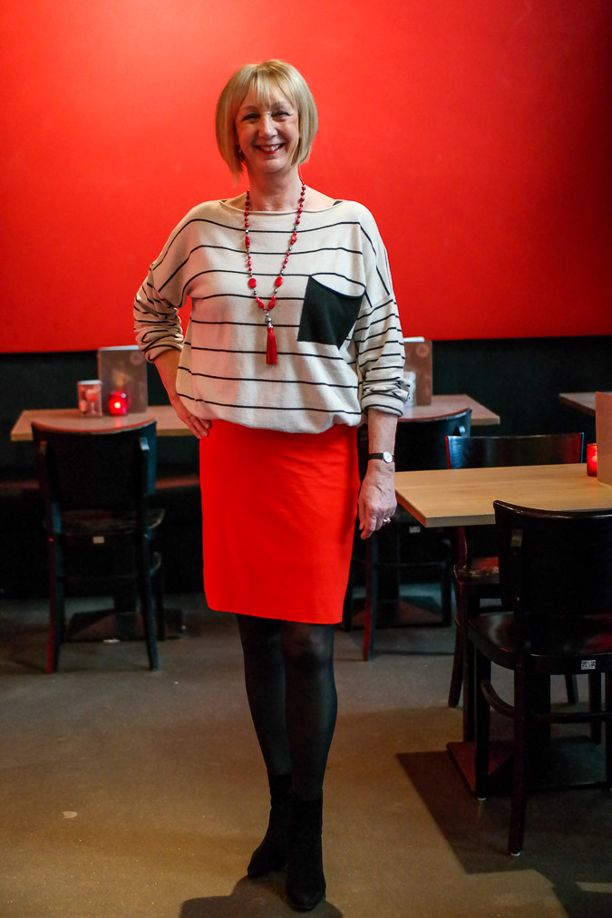 red pencil skirt with black and white sweater