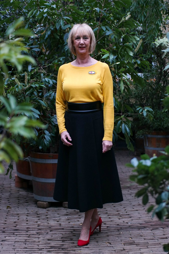 long black circle skirt by Max Mara with yellow jumper (Zara), red suede shoes and a black belt also by Max Mara