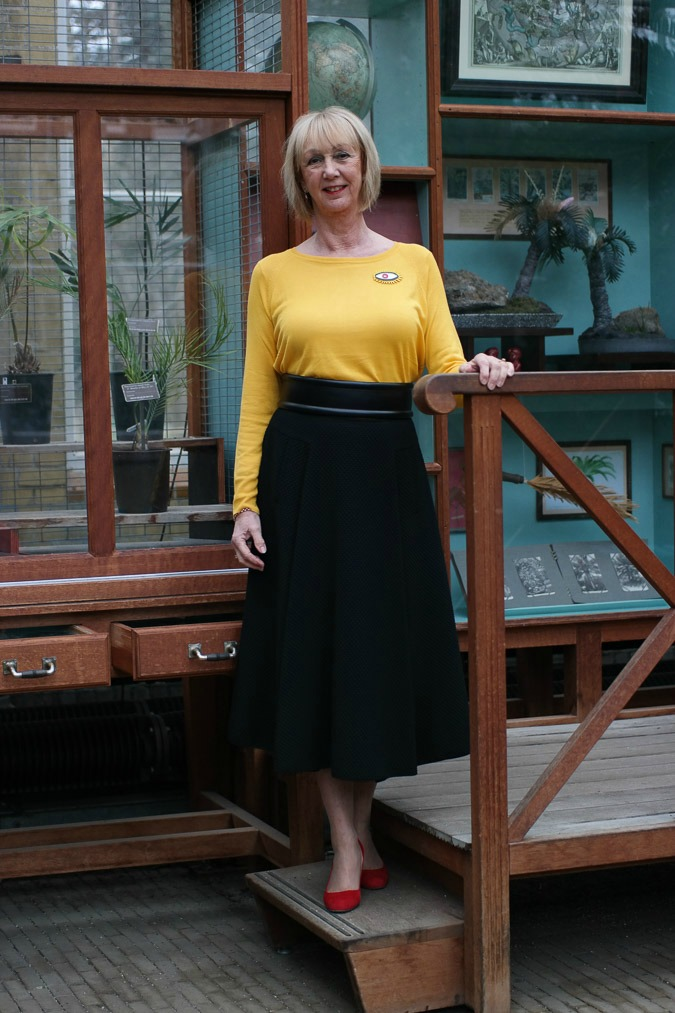 long black circle skirt by Max Mara with yellow jumper (Zara and red suede pumps