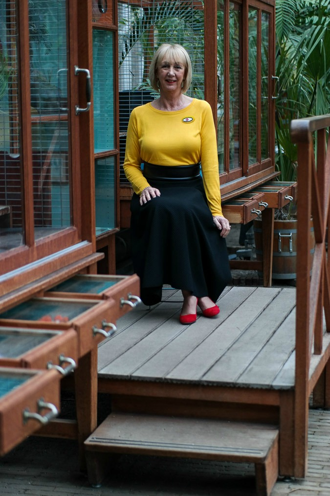 black circle skirt Max Mara, yellow jumper Zara
