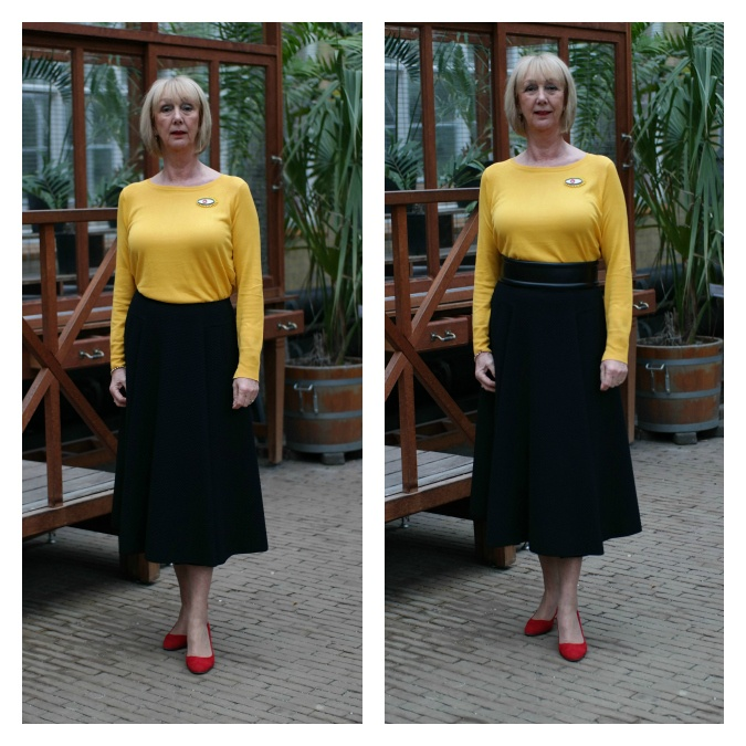 Long black circle skirt with yellow jumper. With and without belt
