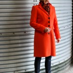 An orange coat to bring some fun in winter