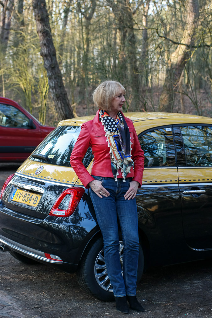 Red leather jacket at the gaspump-3