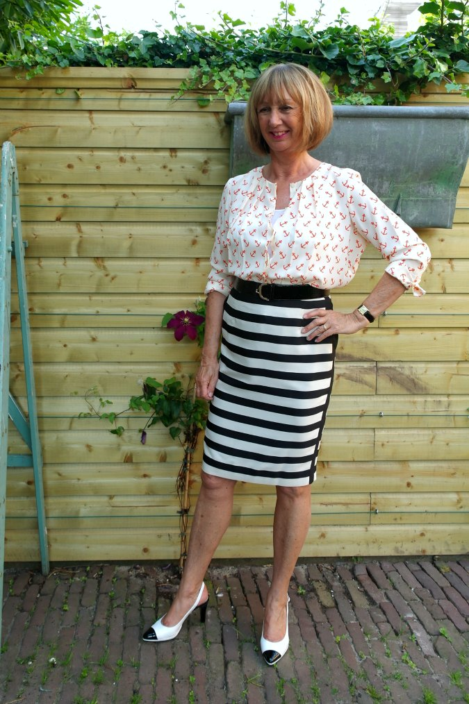 Black and white striped pencil skirt with anchor blouse