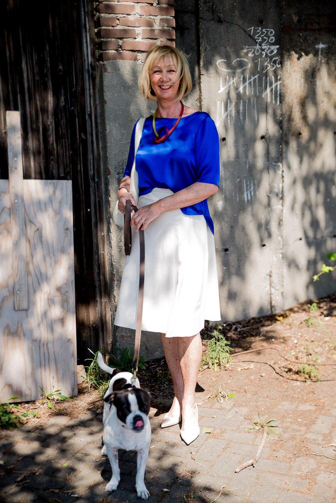Cream skirt and blue silk top Marella
