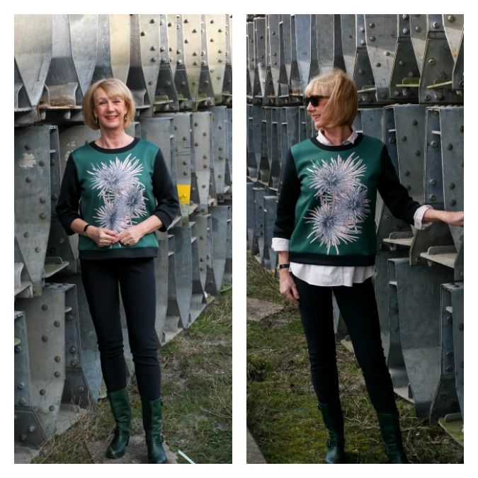 Green sweater Max Mara with and without a shirt