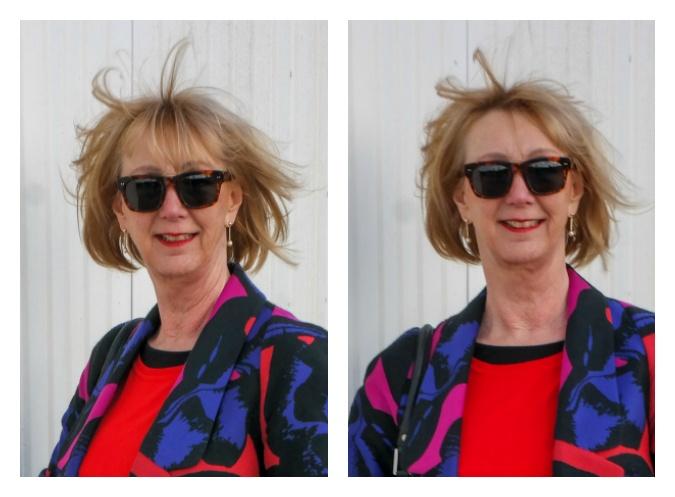 Diane von Fürstenberg jacket, hair blown away