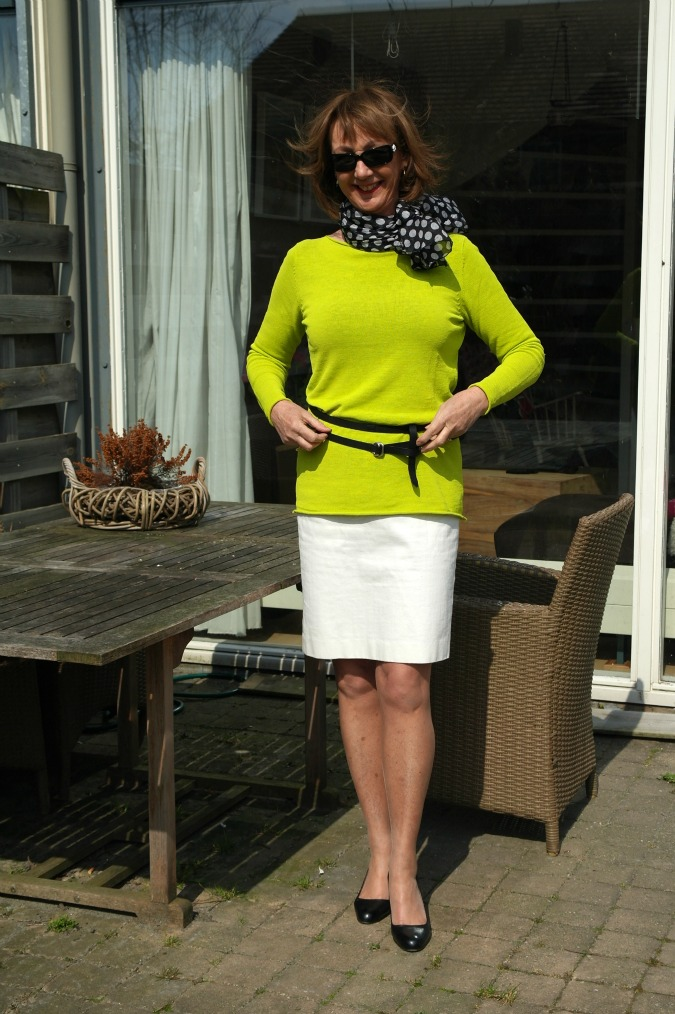 Lime sweater with white pencil skirt
