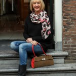 Pink, black and white scarf in Haarlem