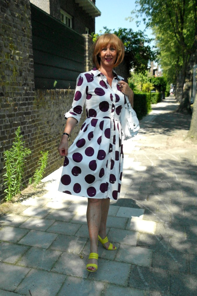 White dress with purple dots