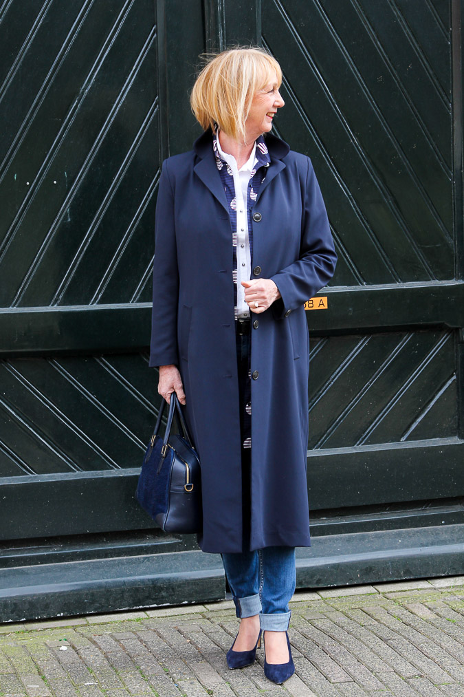 Long blue spring coat