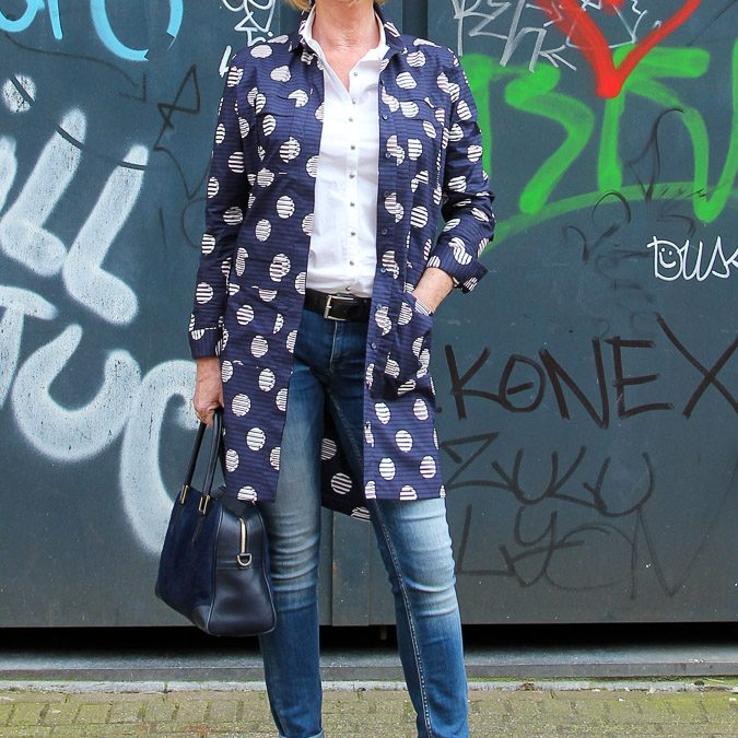 Blue Kenzo jacket dress worn in Amsterdam