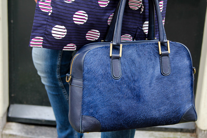 Blue Kenzo tunic dress and blue Marina Rinaldi bag