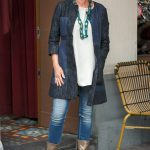 Max Mara jeans dress worn as a jacket