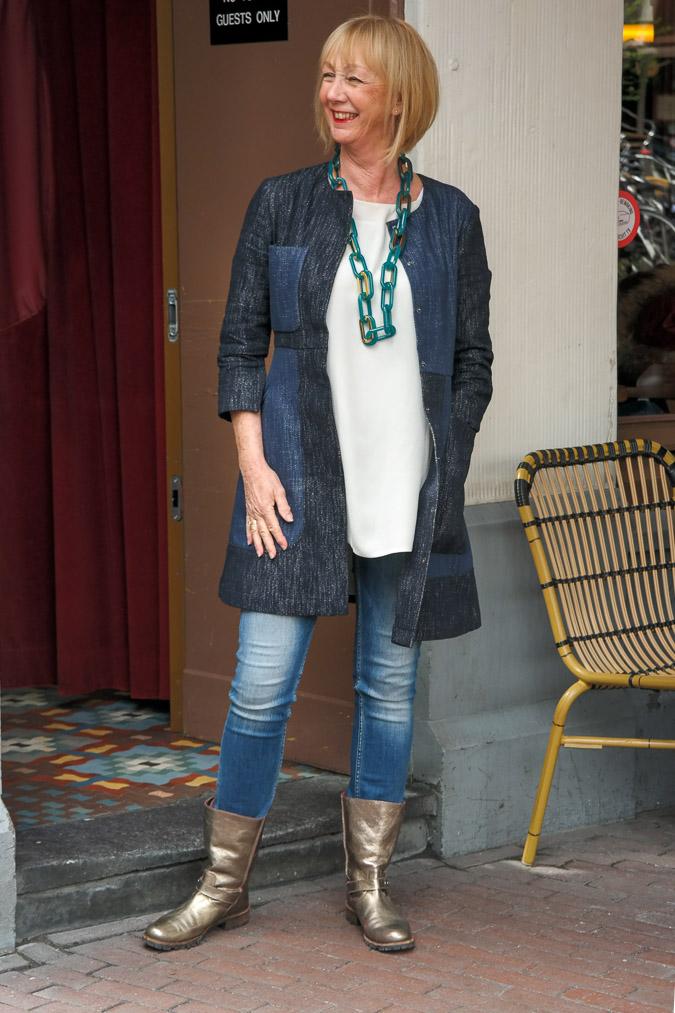 Max Mara jeans dress worn as a jacket