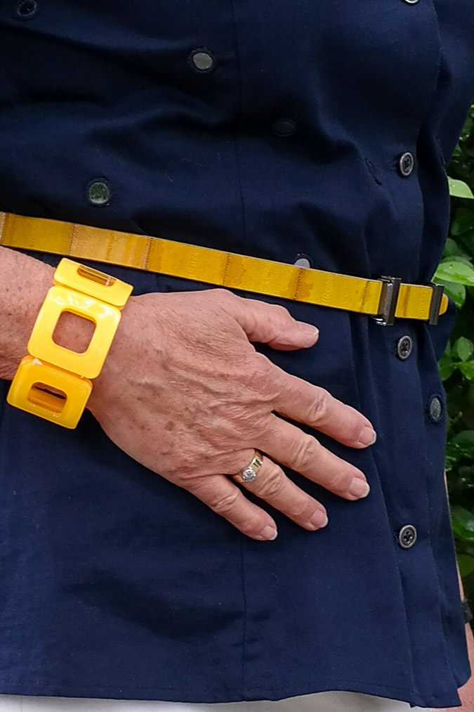 yellow bracelet and belt