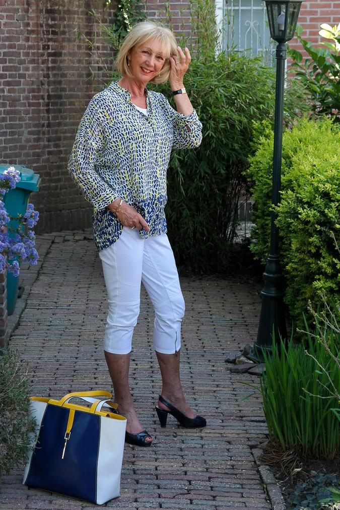 Blue white yellow summer shirt