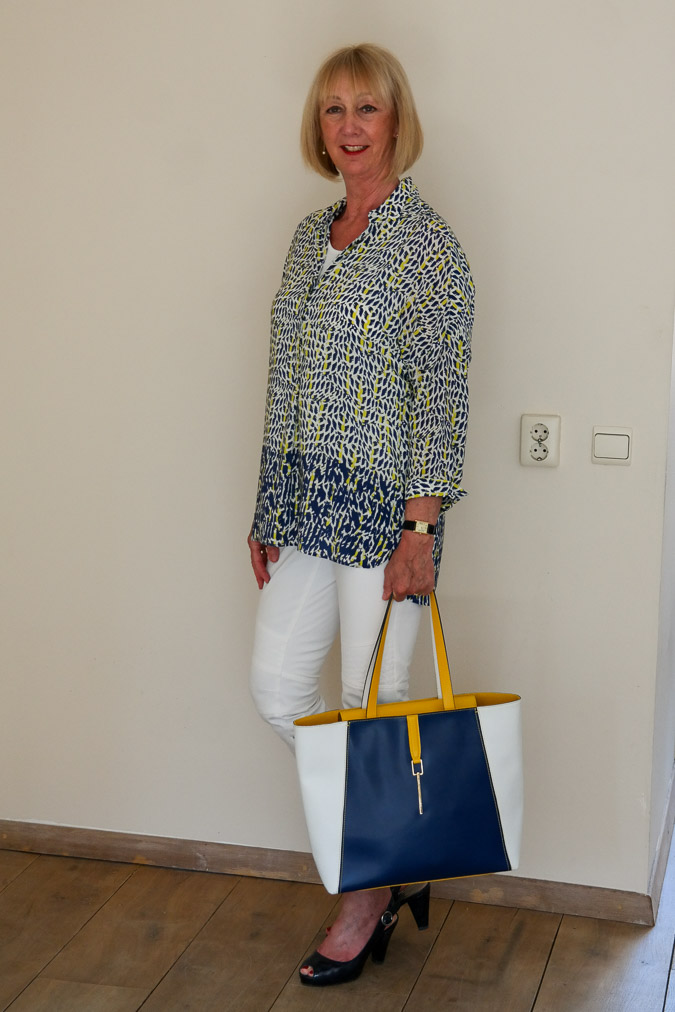 Blue white yellow summer shirt