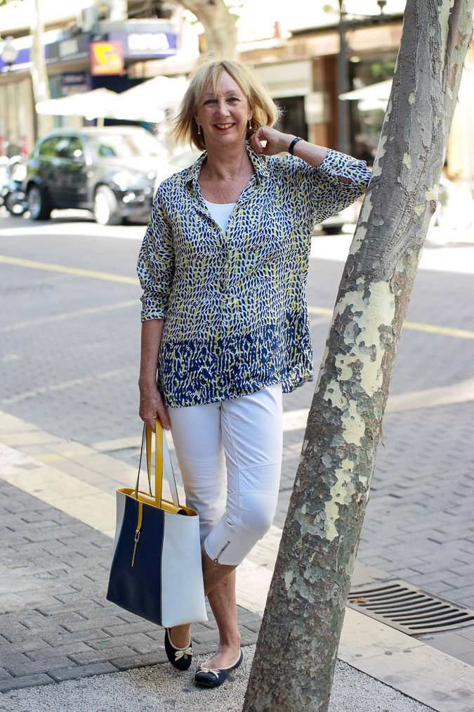 Blue white yellow summer shirt in Spain