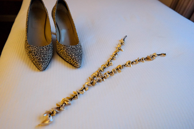 Leopard pumps and shell necklace