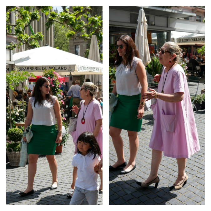 Woman in Geneva in pink dress