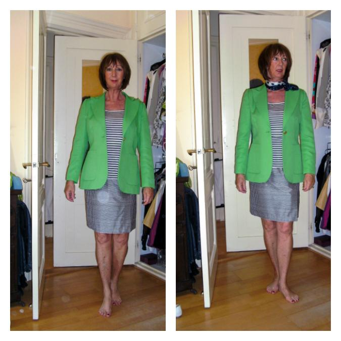 striped shirt with Kermit green jacket