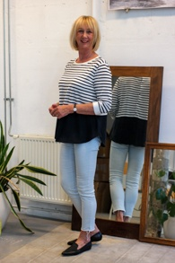 COS striped top and black flat EIJK shoes