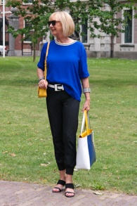 Bright blue top, blue, white and yellow shopper: Marina Rinaldi