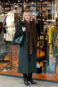Brown coat Marella, black bag Longchamps