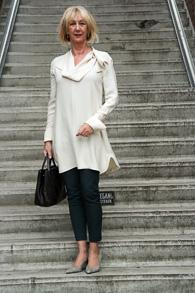 Cream dress Sportmax and green skinny trousers by Marlene Birger